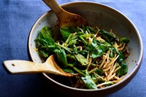 """Instant"" kimchi with greens and bean sprouts"