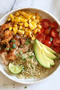 (Instant Pot) Chipotle chicken bowls with cilantro lime quinoa