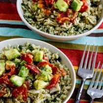Instant Pot low-carb green chile chicken burrito bowl
