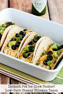 Instant Pot (or slow cooker) low-carb cheesy chicken tacos