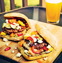 Italian burgers with basil mustard and giardiniera