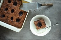 Jammy baked oatmeal with mixed berry jam