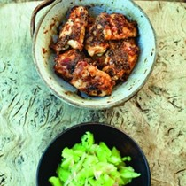 Japanese ginger and garlic chicken with smashed cucumber