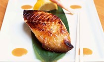 Japanese miso-marinated cod with rice and greens