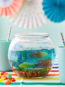 Jello and gummy candy fishbowl