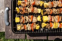 Jerk chicken and pineapple skewers