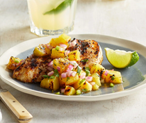 Jerk-spiced chicken with charred pineapple salsa