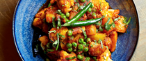 Jersey Royals, cauliflower and peas (Aloo gobi mattar)