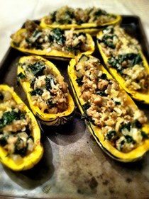 Kale and sausage stuffed delicata squash