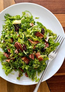 Kale and shaved Brussels sprout salad with bacon