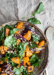 Kale, butternut squash, and farro salad