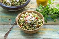 Kale tabbouleh with cilantro and chorizo
