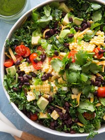 Kale taco salad (with cilantro vinaigrette)