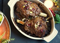 Kashmiri-style roast lamb shanks with cranberries, pistachios and almonds