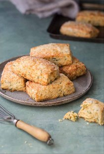 Khorasan, cheddar and chive scones
