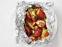 Kielbasa-sweet potato foil packets