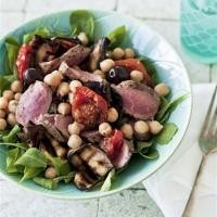 Lamb and aubergine salad with chickpeas and roasted tomatoes