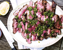 Lamb rump with salsa verde