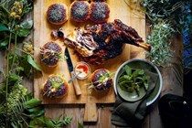 Lamb sliders with harissa and mint