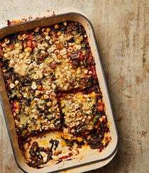 Lasagne with chard, spinach and hazelnuts