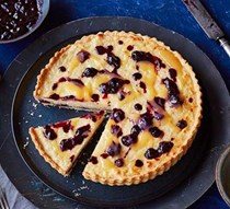 Lemon & blueberry rice pudding tart