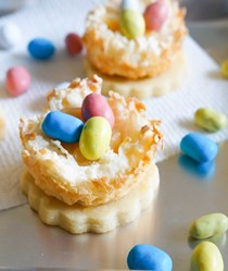 Lemon coconut bird's nest cookies