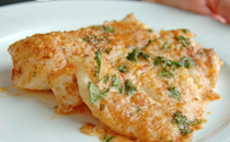 Lemon Parmesan lingcod with garlic butter