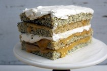 Lemon poppyseed layer cake with whipped yogurt buttercream