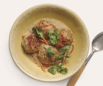 Lemongrass chicken meatballs in green curry broth