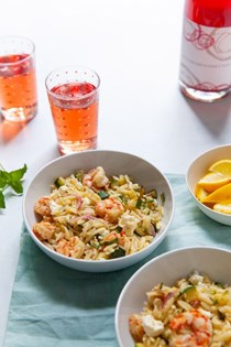 Lemony orzo with shrimp and fresh herbs
