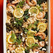 Lemony shrimp and orzo