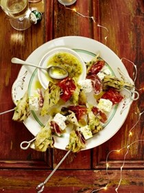 Lemony skewered artichokes