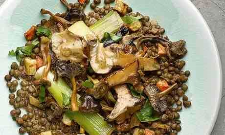 Lentils with mushroom and preserved lemon ragout