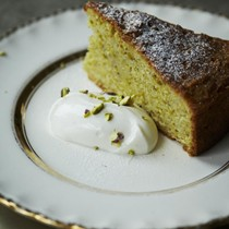Lime cake with orange blossom & pistachios