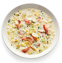Lobster chowder with corn and potatoes