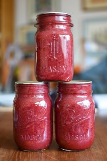Low sugar strawberry rhubarb jam