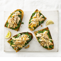 Mackerel and spinach toasts