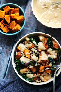Macro bowls with miso-glazed kabocha squash, kimchi, brown rice, and tahini sauce