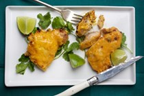 Mango-lime marinated chicken thighs