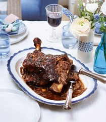 Maple and spice slow-roasted shoulder of lamb with onion jus