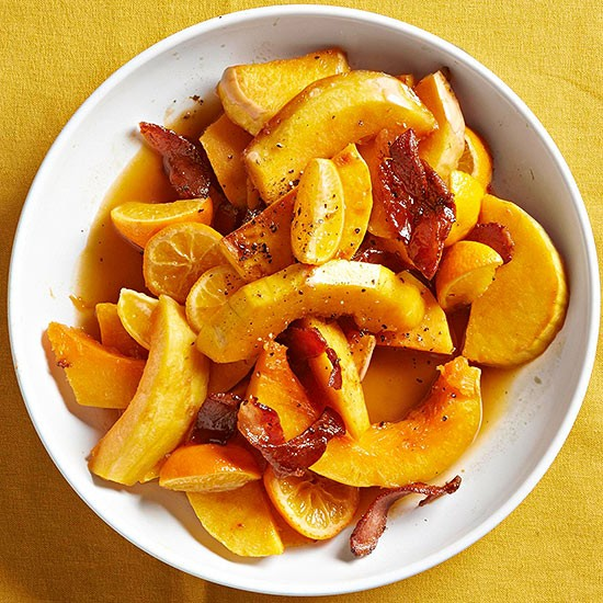 Maple-glazed squash with pancetta (page 132)