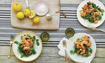 Marinated gigante bean salad with grilled prawns and watercress