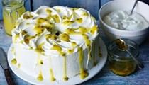 Mary's angel food cake with lemon curd