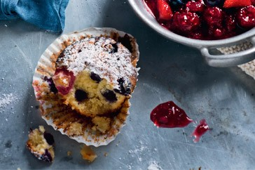 Marzipan & berry muffins