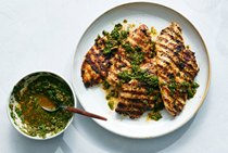 Mayo-marinated chicken with chimichurri