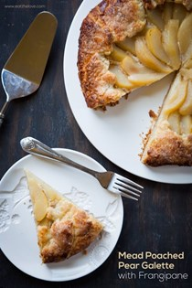 Mead poached pear galette with frangipane