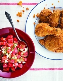 Michy's fried chicken and watermelon Greek salad