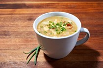 Microwave-baked potato, bacon, chive and cheese soup mugs