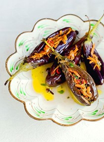 Middle Eastern pickled aubergines