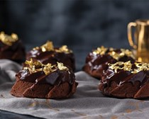 Mini chocolate bundt cakes with chocolate glaze